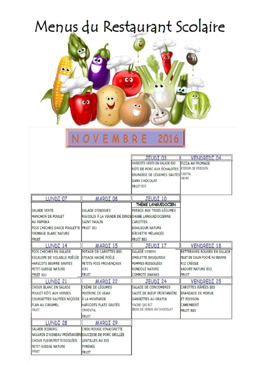Menus Restaurant Scolaire - Novembre